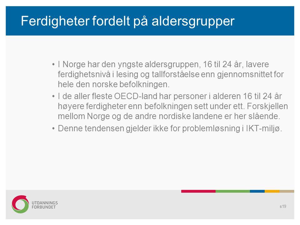 Ferdigheter fordelt på aldersgrupper •I Norge har den yngste aldersgruppen, 16 til 24 år, lavere ferdighetsnivå i lesing og tallforståelse enn gjennom