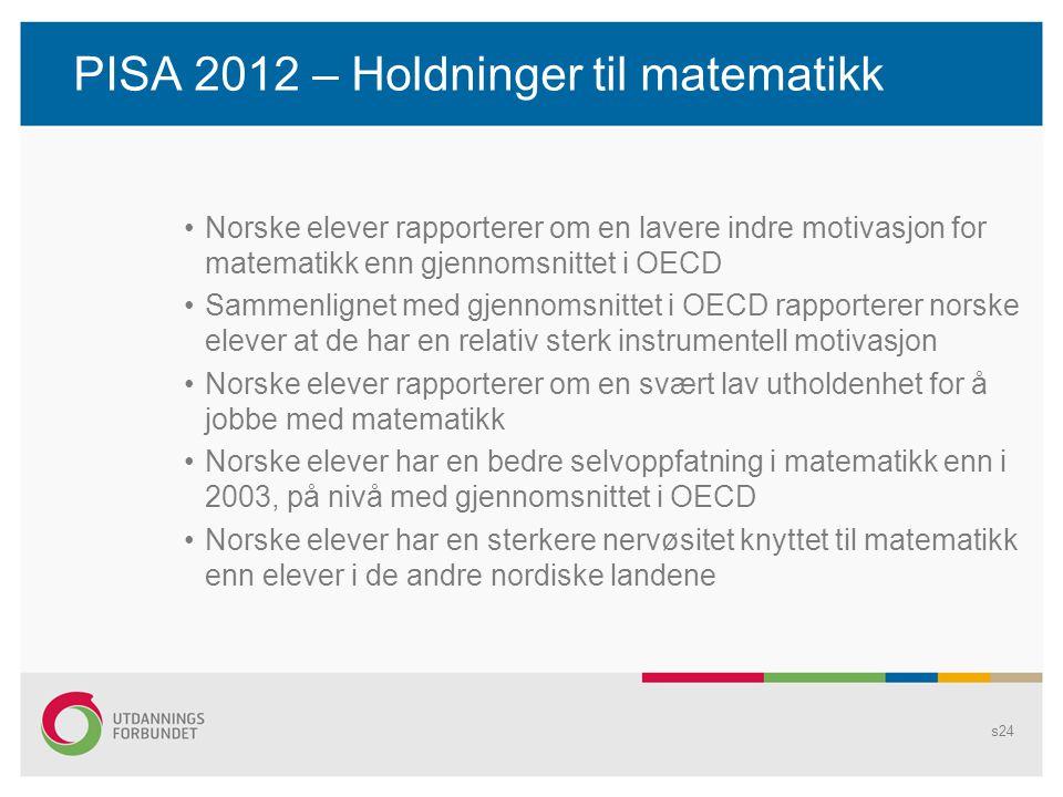 PISA 2012 – Holdninger til matematikk •Norske elever rapporterer om en lavere indre motivasjon for matematikk enn gjennomsnittet i OECD •Sammenlignet