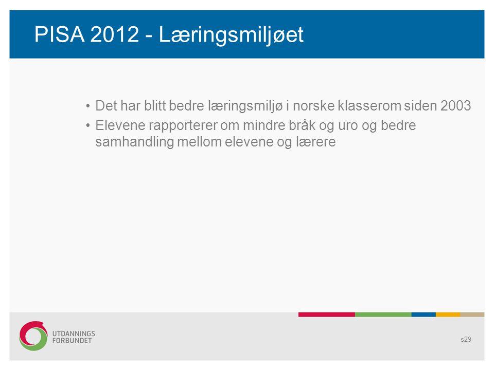PISA 2012 - Læringsmiljøet •Det har blitt bedre læringsmiljø i norske klasserom siden 2003 •Elevene rapporterer om mindre bråk og uro og bedre samhand