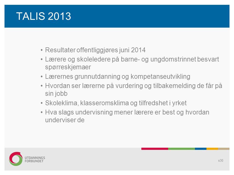 TALIS 2013 •Resultater offentliggjøres juni 2014 •Lærere og skoleledere på barne- og ungdomstrinnet besvart spørreskjemaer •Lærernes grunnutdanning og