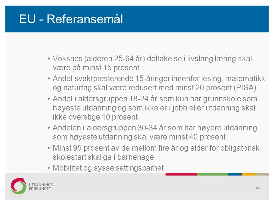 EU - Referansemål •Voksnes (alderen 25-64 år) deltakelse i livslang læring skal være på minst 15 prosent •Andel svaktpresterende 15-åringer innenfor l