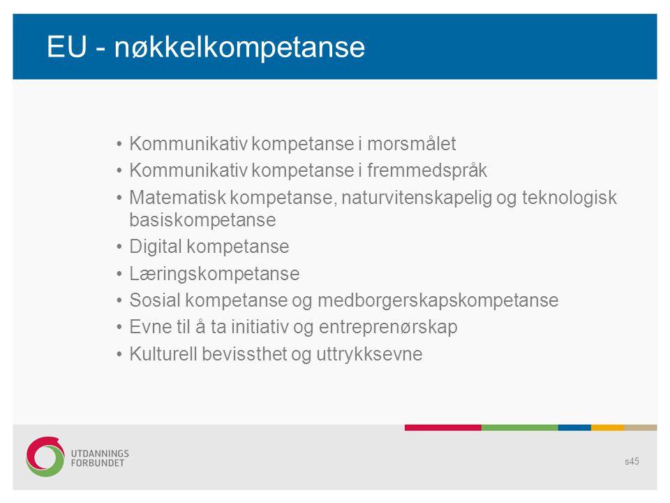 EU - nøkkelkompetanse •Kommunikativ kompetanse i morsmålet •Kommunikativ kompetanse i fremmedspråk •Matematisk kompetanse, naturvitenskapelig og tekno