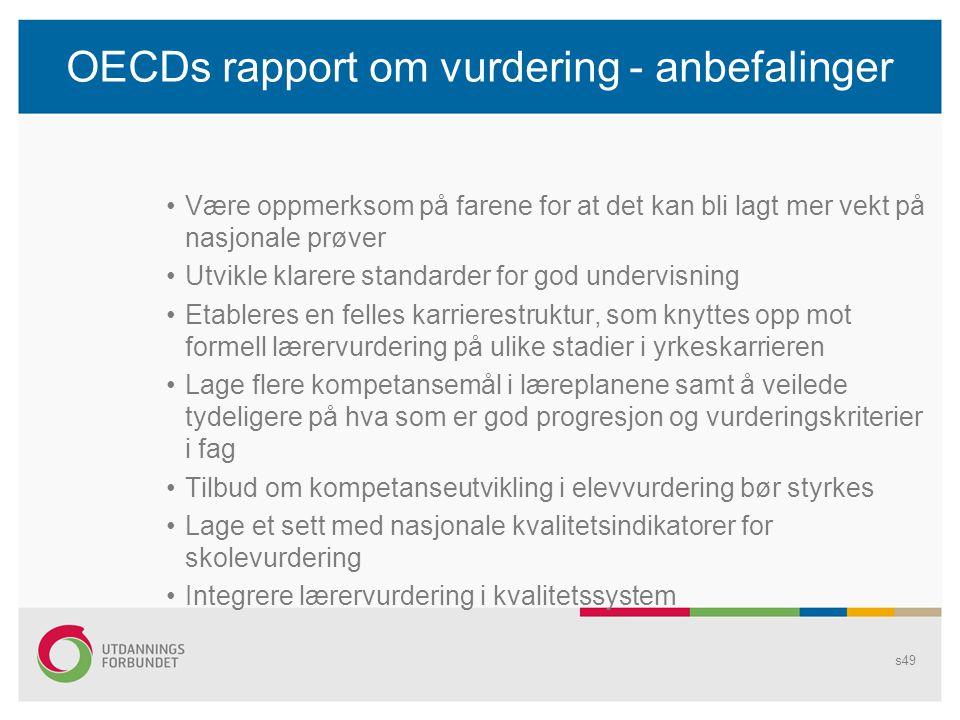 OECDs rapport om vurdering - anbefalinger •Være oppmerksom på farene for at det kan bli lagt mer vekt på nasjonale prøver •Utvikle klarere standarder