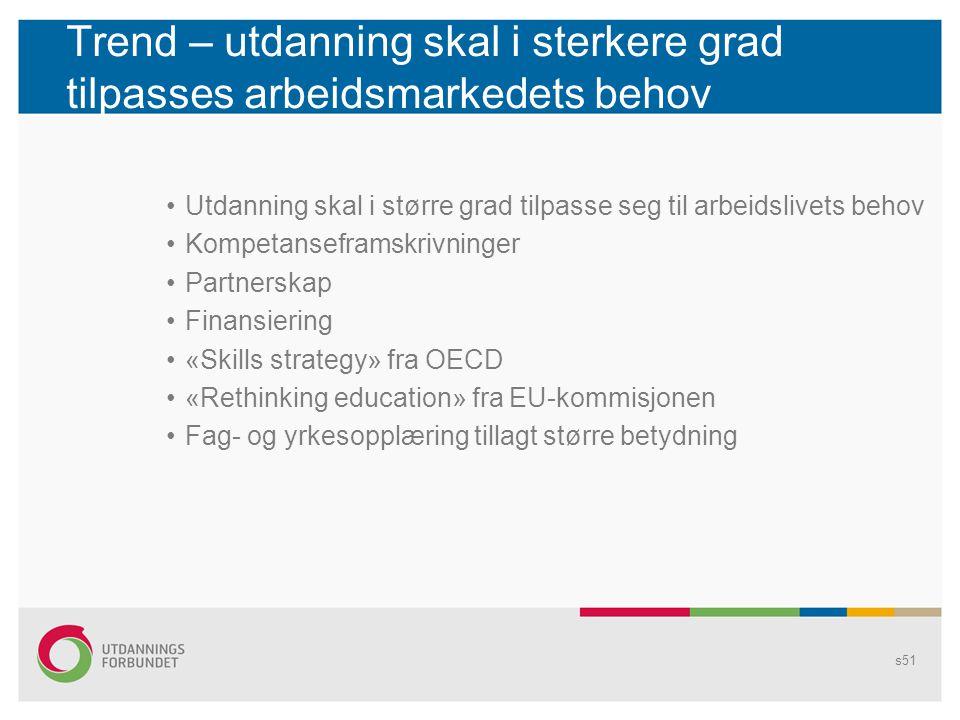 Trend – utdanning skal i sterkere grad tilpasses arbeidsmarkedets behov •Utdanning skal i større grad tilpasse seg til arbeidslivets behov •Kompetanse