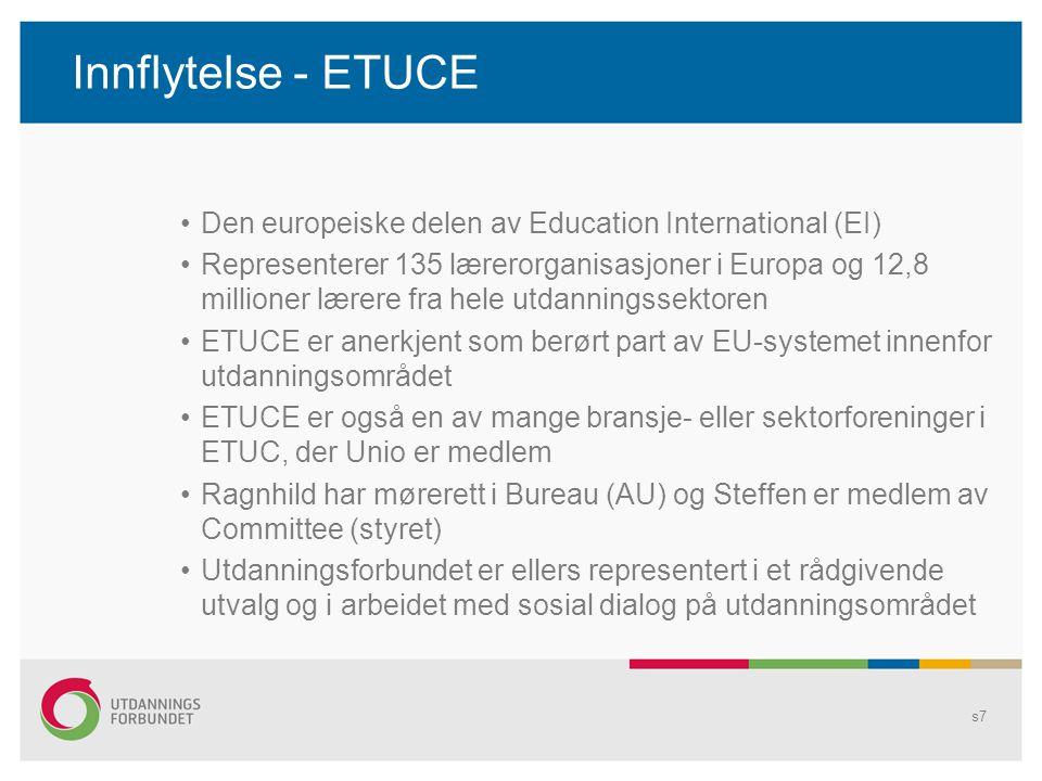 Innflytelse - ETUCE •Den europeiske delen av Education International (EI) •Representerer 135 lærerorganisasjoner i Europa og 12,8 millioner lærere fra