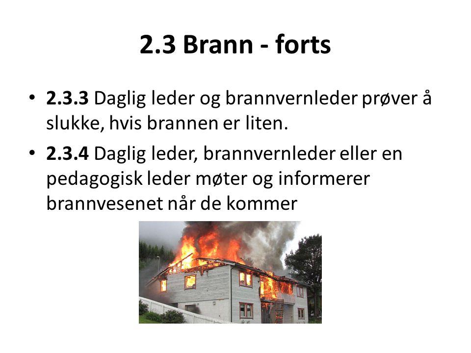 2.3 Brann - forts • 2.3.3 Daglig leder og brannvernleder prøver å slukke, hvis brannen er liten. • 2.3.4 Daglig leder, brannvernleder eller en pedagog