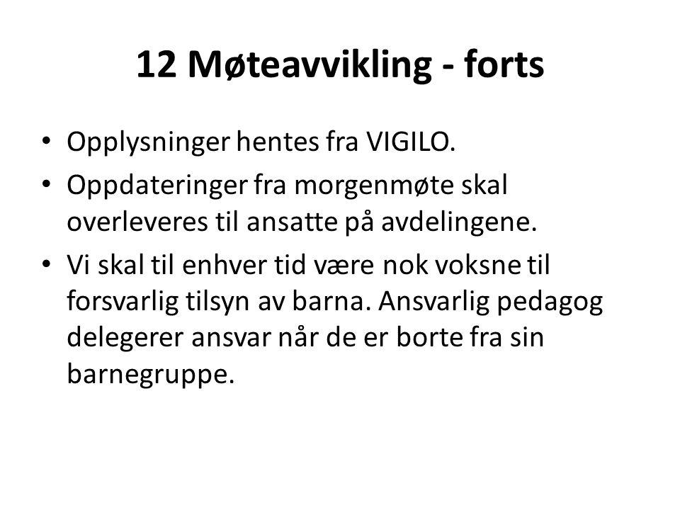 12 Møteavvikling - forts • Opplysninger hentes fra VIGILO. • Oppdateringer fra morgenmøte skal overleveres til ansatte på avdelingene. • Vi skal til e