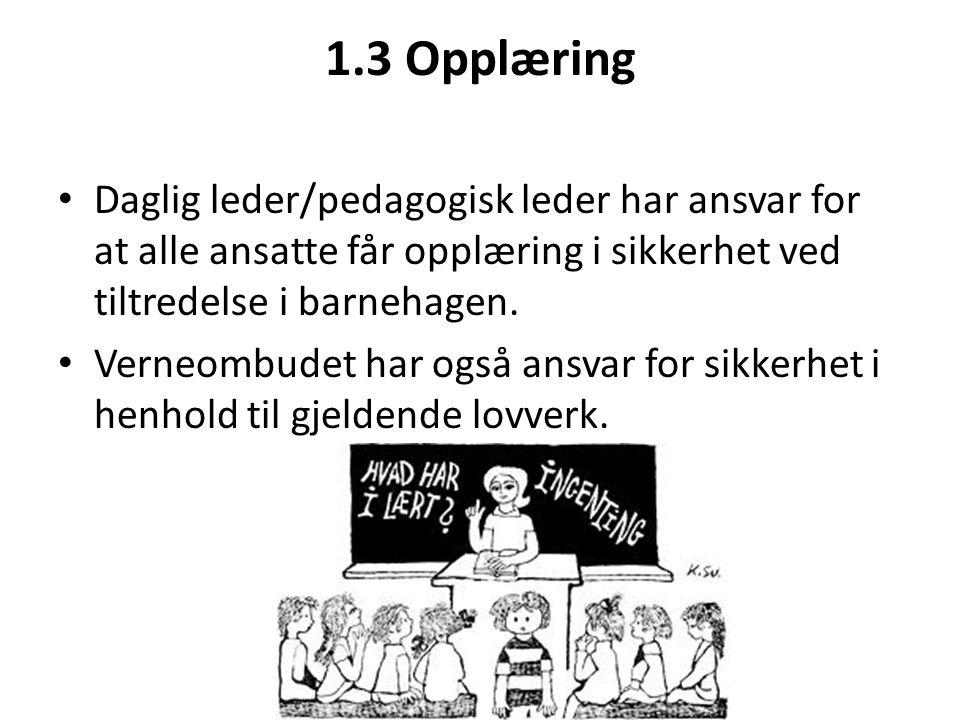 1.3 Opplæring • Daglig leder/pedagogisk leder har ansvar for at alle ansatte får opplæring i sikkerhet ved tiltredelse i barnehagen. • Verneombudet ha