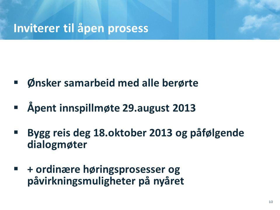 Inviterer til åpen prosess  Ønsker samarbeid med alle berørte  Åpent innspillmøte 29.august 2013  Bygg reis deg 18.oktober 2013 og påfølgende dialo