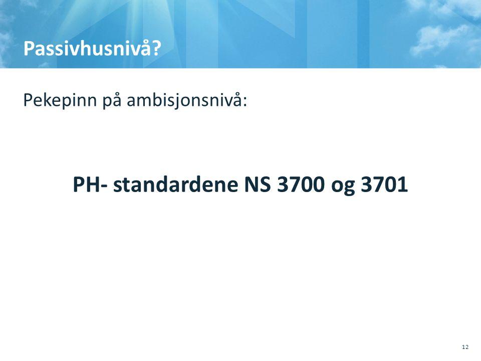 Passivhusnivå? Pekepinn på ambisjonsnivå: PH- standardene NS 3700 og 3701 10.10.201110.10.2011, Sted, tema, Sted, tema 12