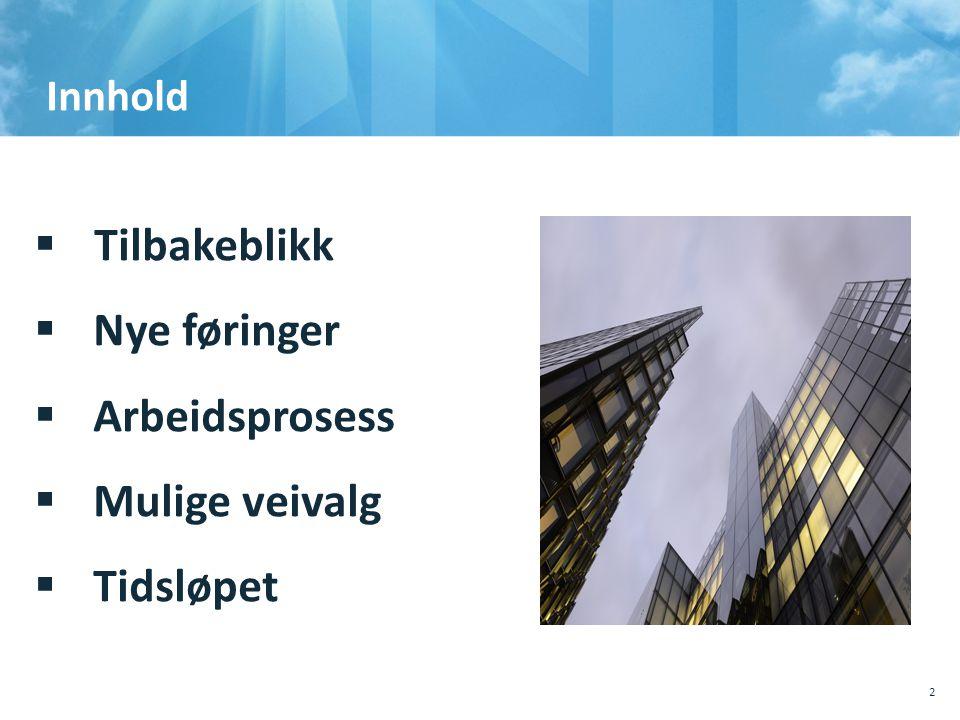 Innhold  Tilbakeblikk  Nye føringer  Arbeidsprosess  Mulige veivalg  Tidsløpet 10.10.201110.10.2011, Sted, tema, Sted, tema 2