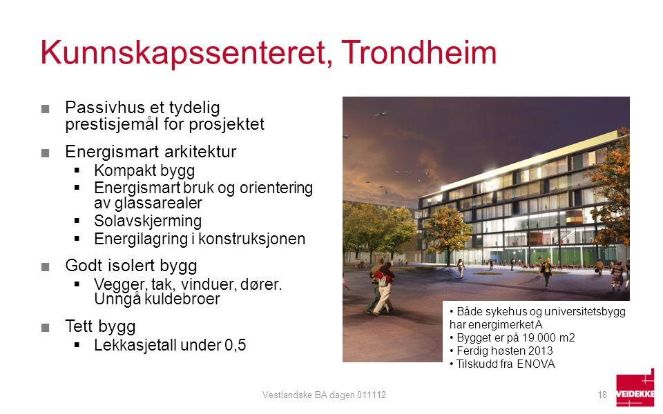 Kunnskapssenteret, Trondheim ■Passivhus et tydelig prestisjemål for prosjektet ■Energismart arkitektur  Kompakt bygg  Energismart bruk og orienterin