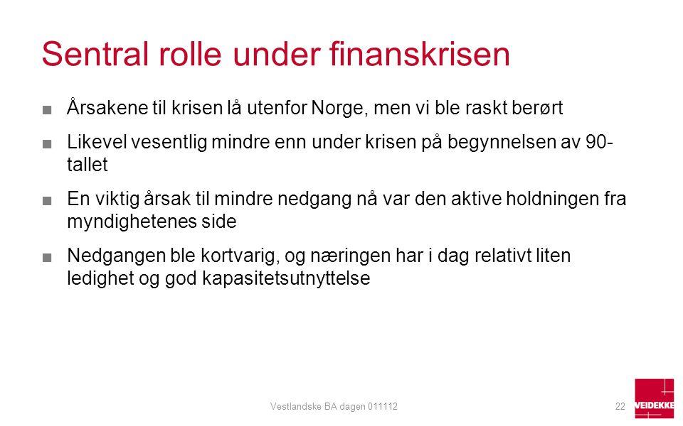 Sentral rolle under finanskrisen ■Årsakene til krisen lå utenfor Norge, men vi ble raskt berørt ■Likevel vesentlig mindre enn under krisen på begynnel