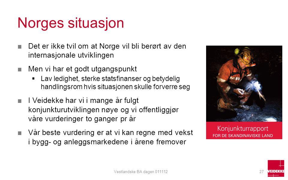 Norges situasjon ■Det er ikke tvil om at Norge vil bli berørt av den internasjonale utviklingen ■Men vi har et godt utgangspunkt  Lav ledighet, sterk