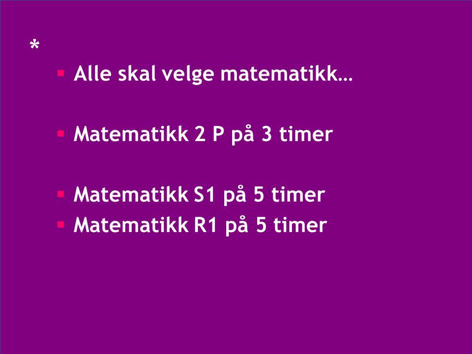 * •Alle som velger matematikk S1 eller R1 (5t) får 4 programfag og totalt 32 uketimer på vg2 •Alle som velger matematikk 2P (3t) får 3 programfag og totalt 30 uketimer på vg2