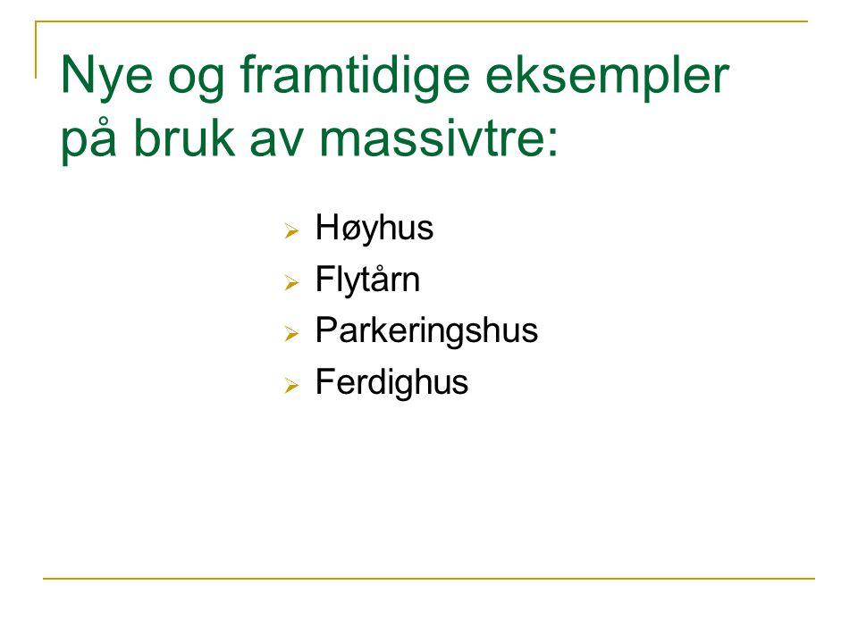  Høyhus  Flytårn  Parkeringshus  Ferdighus Nye og framtidige eksempler på bruk av massivtre: