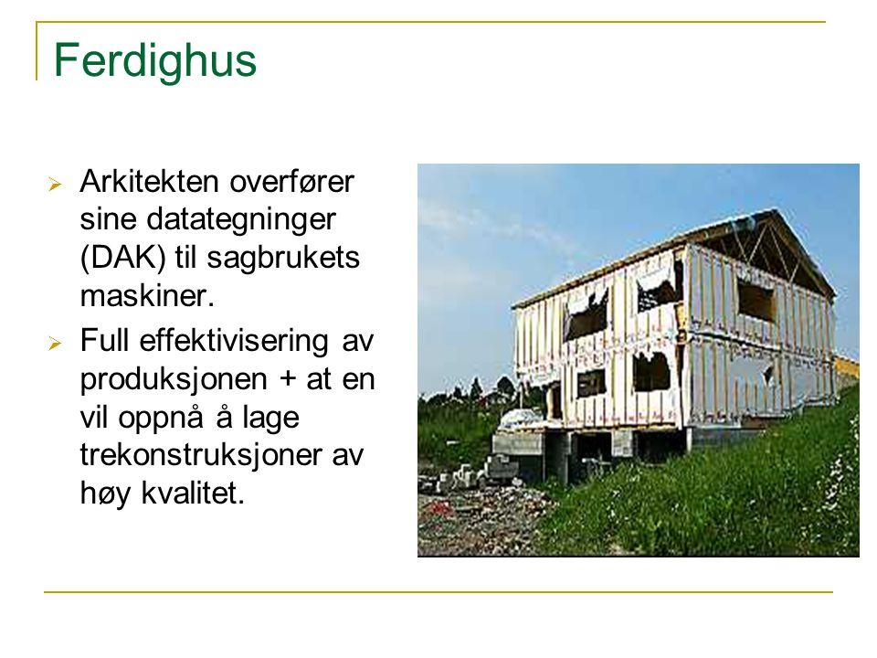 Ferdighus  Arkitekten overfører sine datategninger (DAK) til sagbrukets maskiner.  Full effektivisering av produksjonen + at en vil oppnå å lage tre