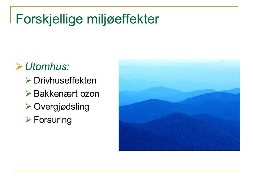 Forskjellige miljøeffekter  Utomhus:  Drivhuseffekten  Bakkenært ozon  Overgjødsling  Forsuring