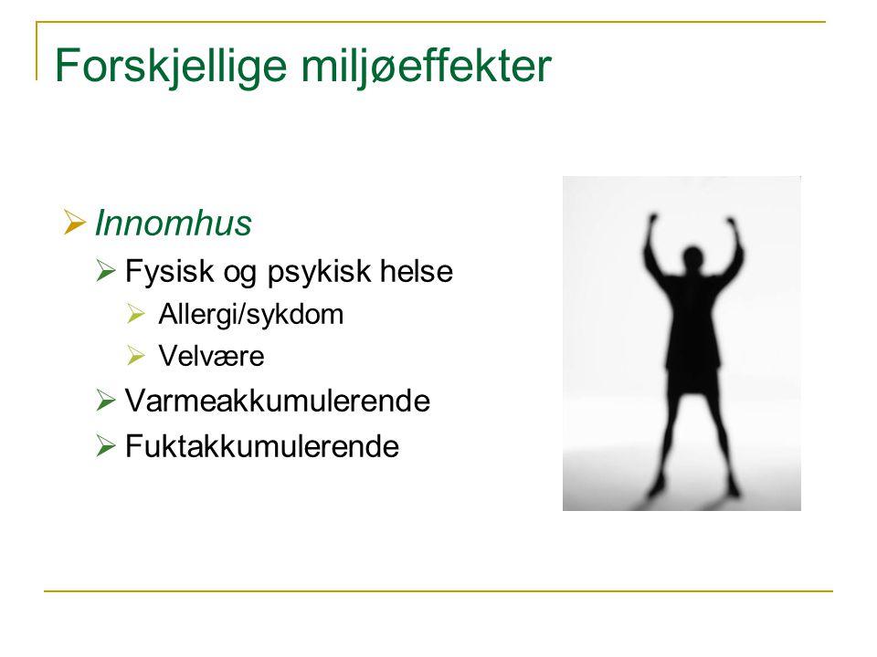 Forskjellige miljøeffekter  Innomhus  Fysisk og psykisk helse  Allergi/sykdom  Velvære  Varmeakkumulerende  Fuktakkumulerende