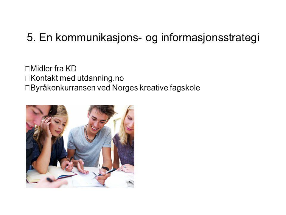 5. En kommunikasjons- og informasjonsstrategi  Midler fra KD  Kontakt med utdanning.no  Byråkonkurransen ved Norges kreative fagskole Årskonferanse