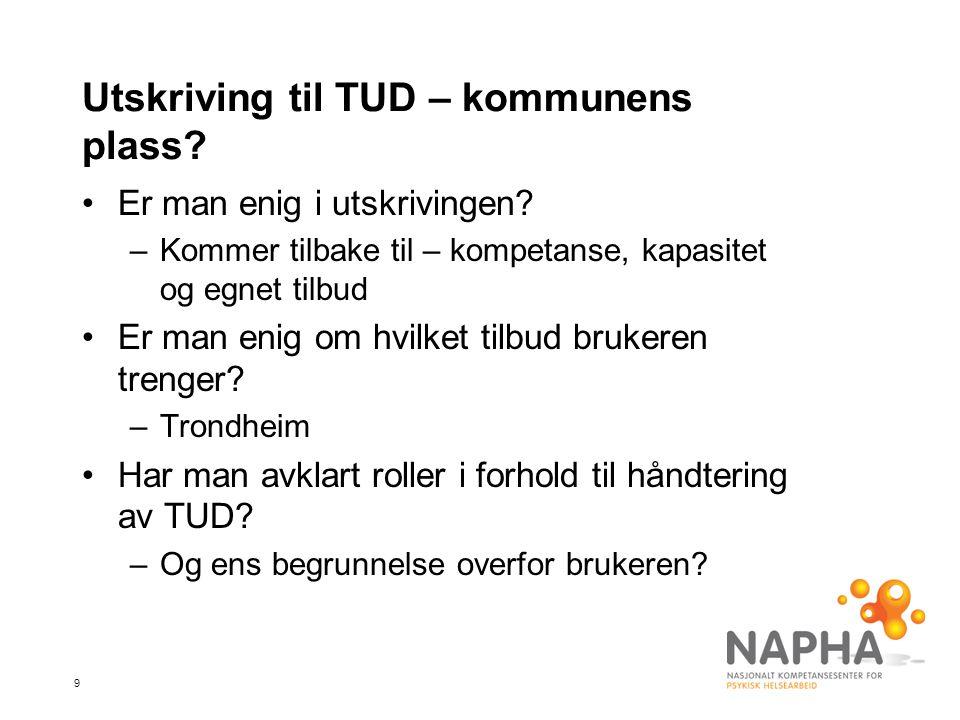 9 Utskriving til TUD – kommunens plass. •Er man enig i utskrivingen.