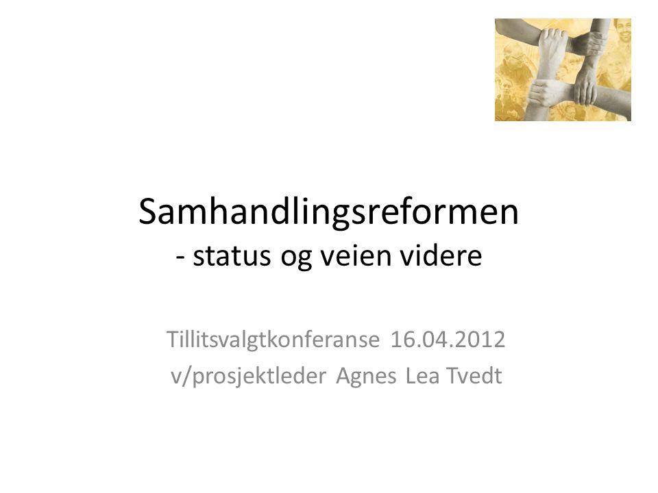 Samhandlingsreformen - status og veien videre Tillitsvalgtkonferanse 16.04.2012 v/prosjektleder Agnes Lea Tvedt