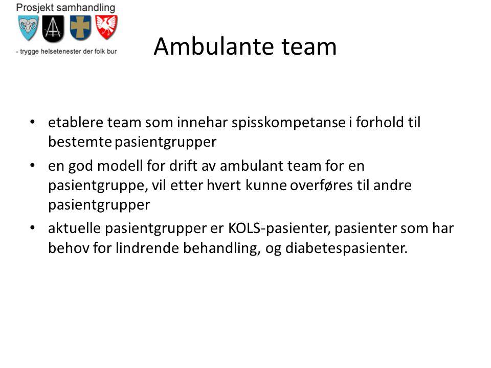 Ambulante team • etablere team som innehar spisskompetanse i forhold til bestemte pasientgrupper • en god modell for drift av ambulant team for en pas
