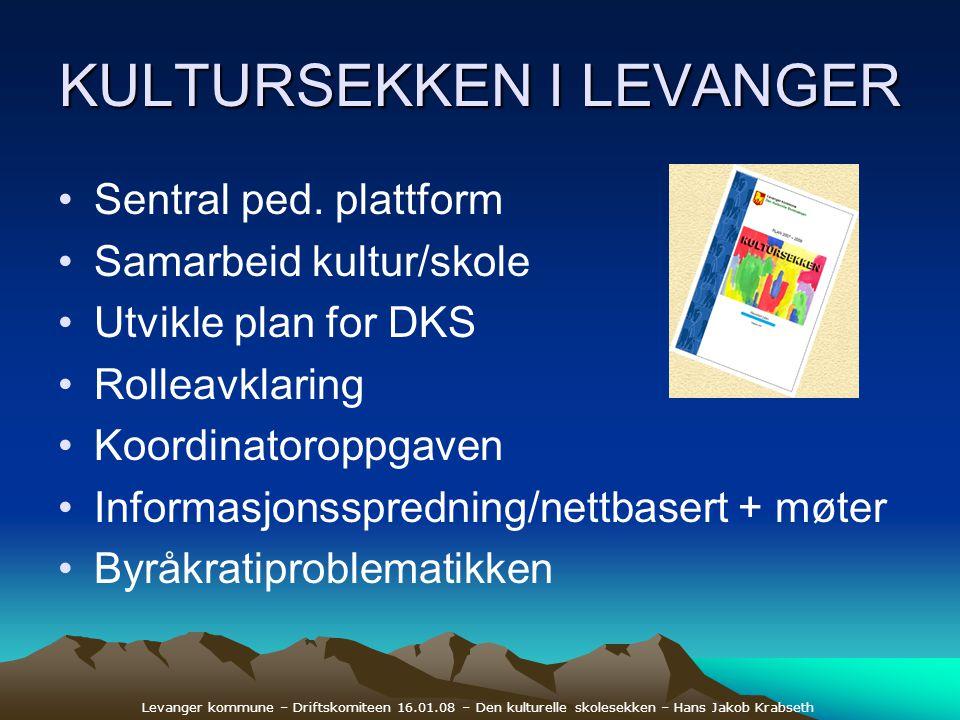 Levanger kommune – Driftskomiteen 16.01.08 – Den kulturelle skolesekken – Hans Jakob Krabseth KULTURSEKKEN I LEVANGER •Sentral ped. plattform •Samarbe