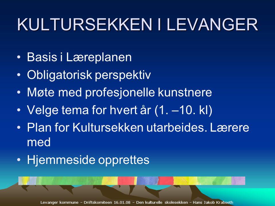 Levanger kommune – Driftskomiteen 16.01.08 – Den kulturelle skolesekken – Hans Jakob Krabseth KULTURSEKKEN I LEVANGER •Basis i Læreplanen •Obligatoris