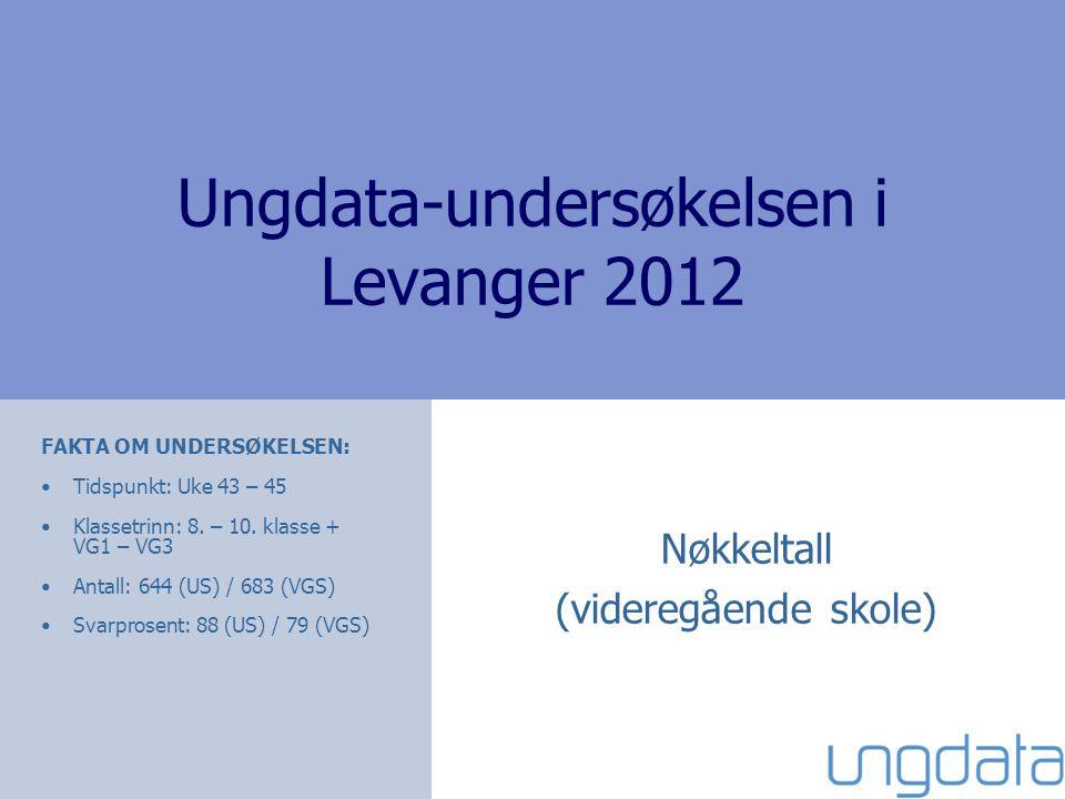 Ungdata-undersøkelsen i Levanger 2012 Nøkkeltall (videregående skole) FAKTA OM UNDERSØKELSEN: •Tidspunkt: Uke 43 – 45 •Klassetrinn: 8. – 10. klasse +