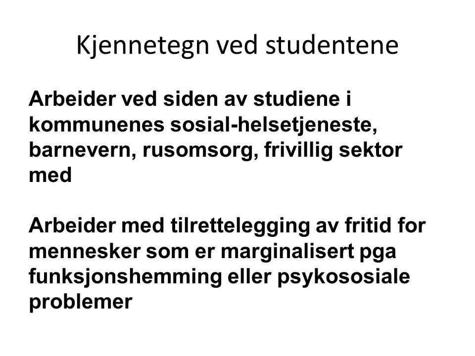 Kjennetegn ved studentene Arbeider ved siden av studiene i kommunenes sosial-helsetjeneste, barnevern, rusomsorg, frivillig sektor med Arbeider med ti