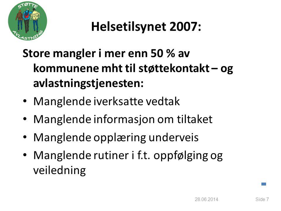 Helsetilsynet 2007: Store mangler i mer enn 50 % av kommunene mht til støttekontakt – og avlastningstjenesten: • Manglende iverksatte vedtak • Manglen