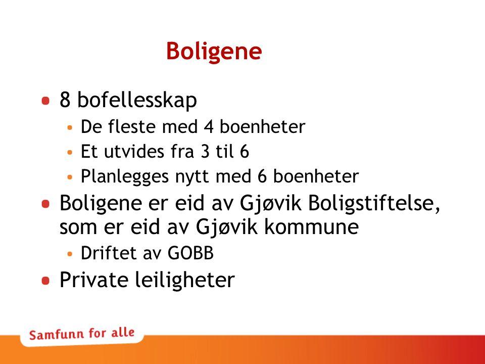Boligene 8 bofellesskap De fleste med 4 boenheter Et utvides fra 3 til 6 Planlegges nytt med 6 boenheter Boligene er eid av Gjøvik Boligstiftelse, som