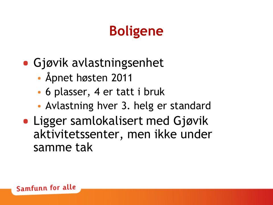 Boligene Gjøvik avlastningsenhet Åpnet høsten 2011 6 plasser, 4 er tatt i bruk Avlastning hver 3. helg er standard Ligger samlokalisert med Gjøvik akt