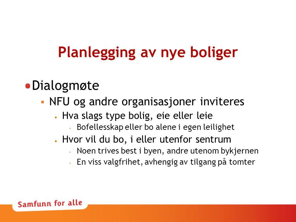 Planlegging av nye boliger Dialogmøte NFU og andre organisasjoner inviteres  Hva slags type bolig, eie eller leie • Bofellesskap eller bo alene i ege