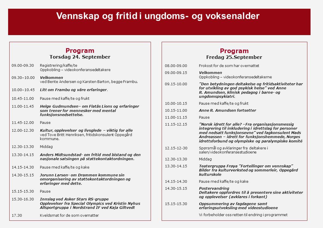Vennskap og fritid i ungdoms- og voksenalder Program Torsdag 24. September 09.00-09.30Registrering/kaffe/te Oppkobling – videokonferansedeltakere 09.3