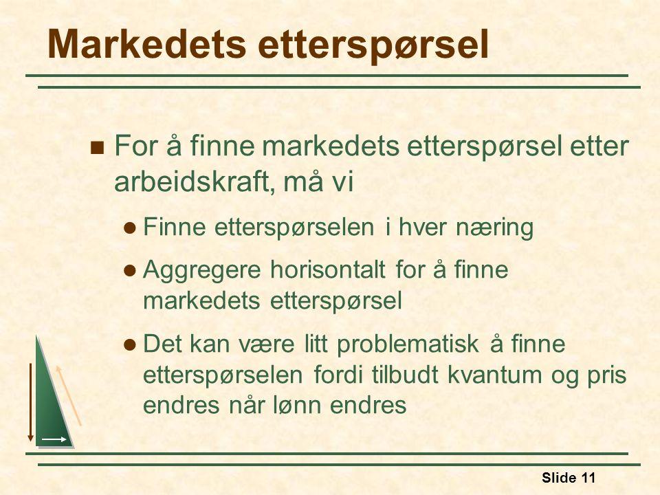 Slide 11 Markedets etterspørsel  For å finne markedets etterspørsel etter arbeidskraft, må vi  Finne etterspørselen i hver næring  Aggregere horiso