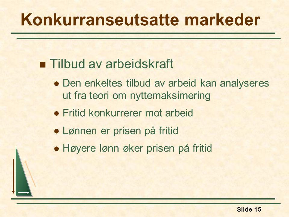 Slide 15 Konkurranseutsatte markeder  Tilbud av arbeidskraft  Den enkeltes tilbud av arbeid kan analyseres ut fra teori om nyttemaksimering  Fritid