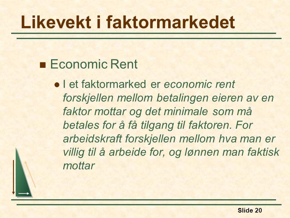 Slide 20  Economic Rent  I et faktormarked er economic rent forskjellen mellom betalingen eieren av en faktor mottar og det minimale som må betales