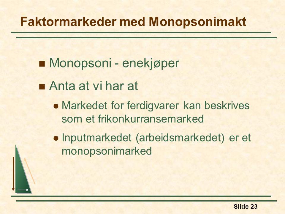 Slide 23 Faktormarkeder med Monopsonimakt  Monopsoni - enekjøper  Anta at vi har at  Markedet for ferdigvarer kan beskrives som et frikonkurransema
