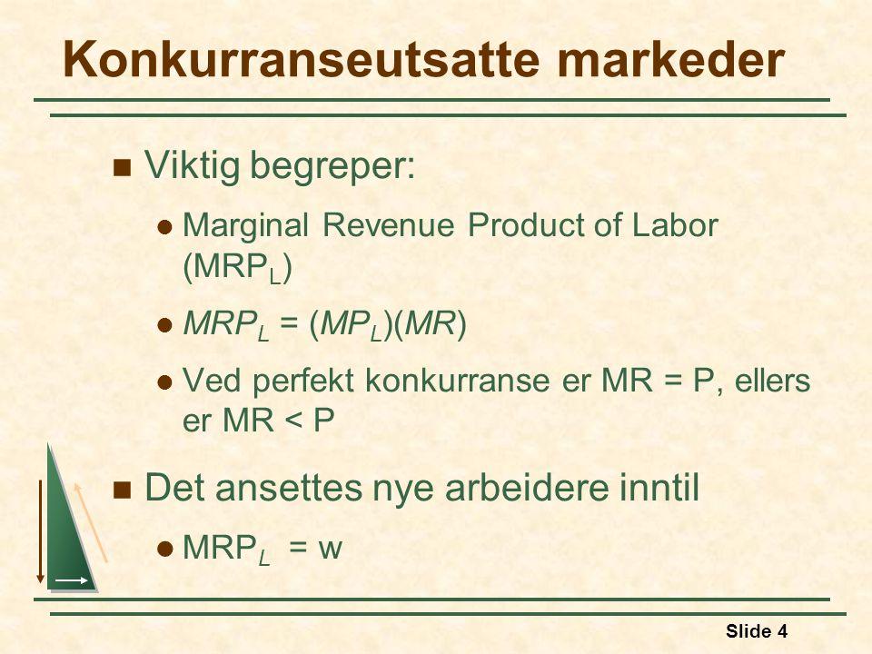 Slide 25 Faktormarkeder med monopolmakt  På samme måte som kjøpere av inputs (arbeid) kan ha monopsonimakt, kan selgere av inputs ha monopolmakt.