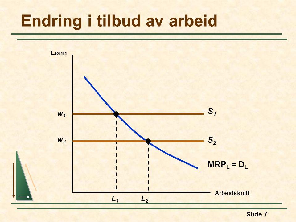Slide 7 Endring i tilbud av arbeid Arbeidskraft Lønn w1w1 S1S1 MRP L = D L L1L1 w2w2 L2L2 S2S2