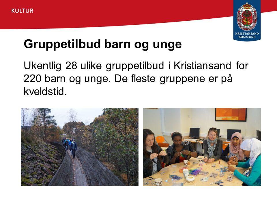 Gruppetilbud barn og unge Ukentlig 28 ulike gruppetilbud i Kristiansand for 220 barn og unge. De fleste gruppene er på kveldstid.