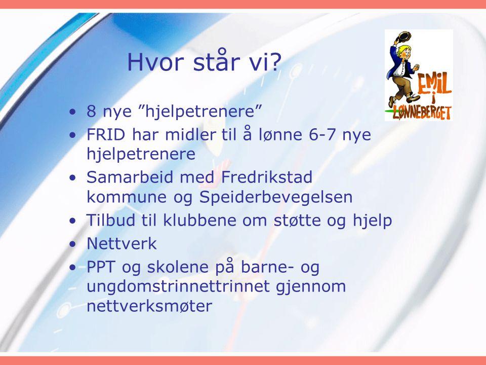 """Hvor står vi? •8 nye """"hjelpetrenere"""" •FRID har midler til å lønne 6-7 nye hjelpetrenere •Samarbeid med Fredrikstad kommune og Speiderbevegelsen •Tilbu"""