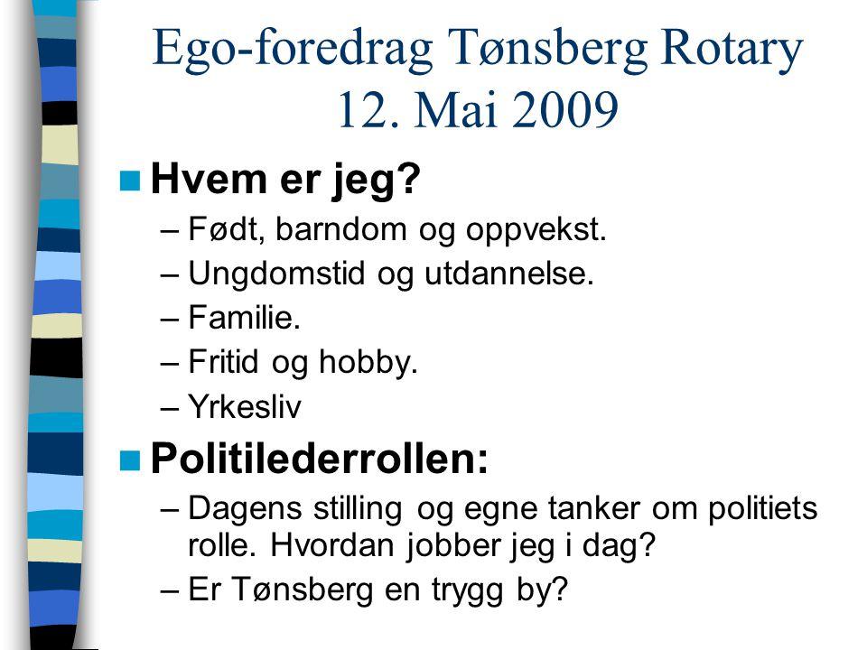 Ego-foredrag Tønsberg Rotary 12. Mai 2009  Hvem er jeg? –Født, barndom og oppvekst. –Ungdomstid og utdannelse. –Familie. –Fritid og hobby. –Yrkesliv
