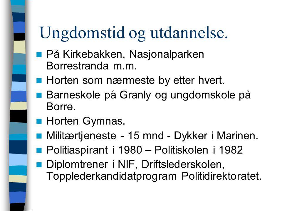 Ungdomstid og utdannelse.  På Kirkebakken, Nasjonalparken Borrestranda m.m.  Horten som nærmeste by etter hvert.  Barneskole på Granly og ungdomsko