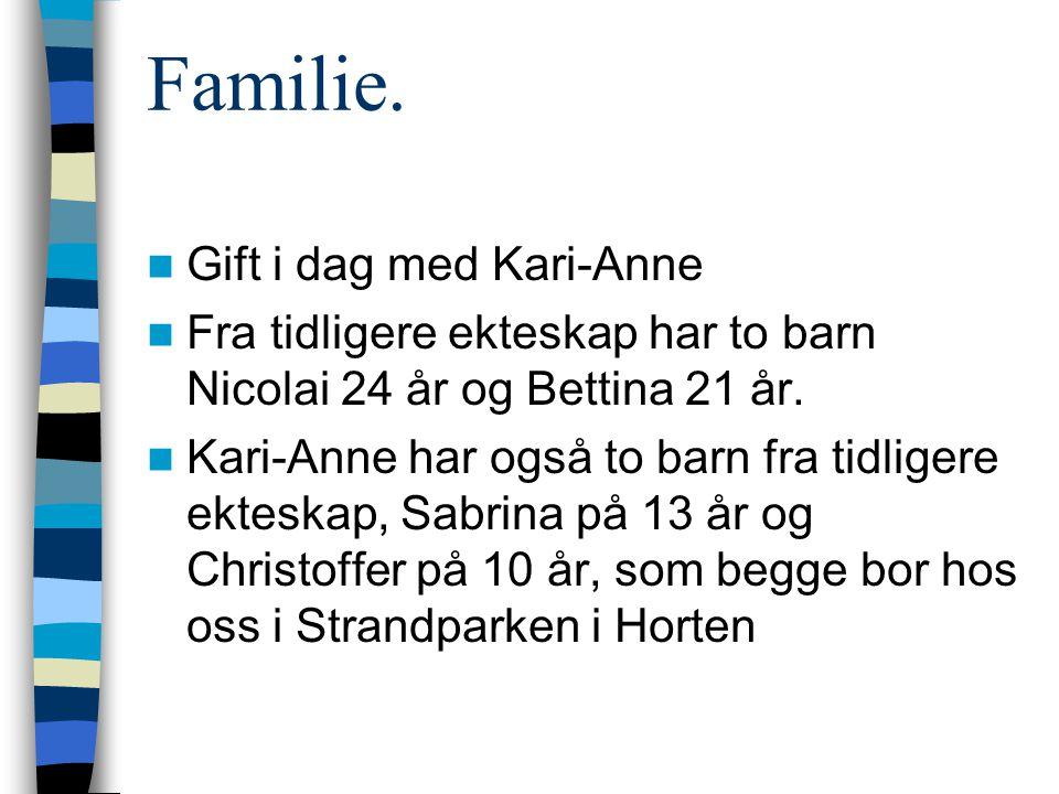 Familie.  Gift i dag med Kari-Anne  Fra tidligere ekteskap har to barn Nicolai 24 år og Bettina 21 år.  Kari-Anne har også to barn fra tidligere ek