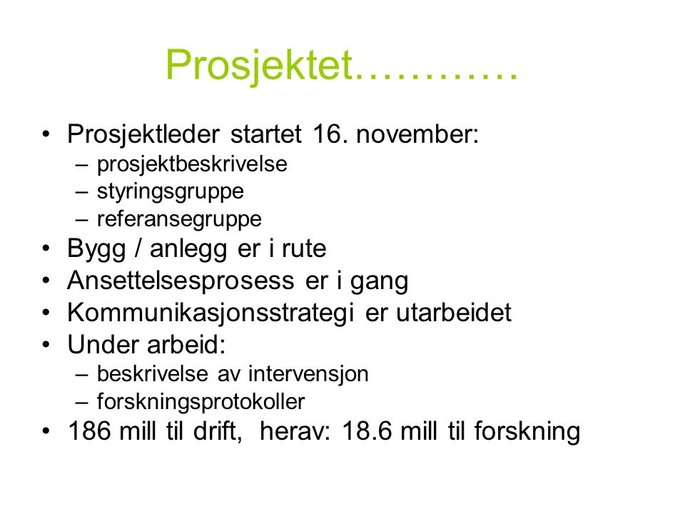Prosjektet………… •Prosjektleder startet 16. november: –prosjektbeskrivelse –styringsgruppe –referansegruppe •Bygg / anlegg er i rute •Ansettelsesprosess