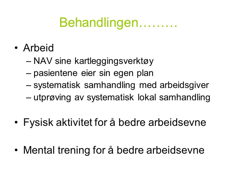 Behandlingen……… •Arbeid –NAV sine kartleggingsverktøy –pasientene eier sin egen plan –systematisk samhandling med arbeidsgiver –utprøving av systemati