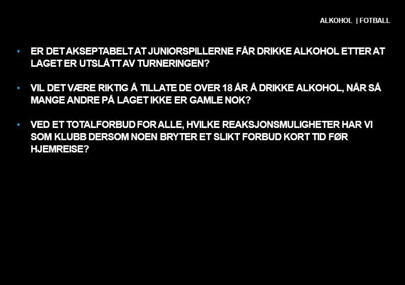 •ER DET AKSEPTABELT AT JUNIORSPILLERNE FÅR DRIKKE ALKOHOL ETTER AT LAGET ER UTSLÅTT AV TURNERINGEN? •VIL DET VÆRE RIKTIG Å TILLATE DE OVER 18 ÅR Å DRI